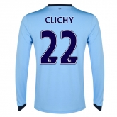 14-15 Manchester City Clichy #22 Home Long Sleeve Jersey Shirt