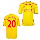 14-15 Liverpool Lallana #20 Away Yellow Soccer Jersey Shirt
