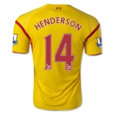 14-15 Liverpool HENDERSON #14 Away Yellow Soccer Jersey Shirt