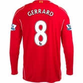 14-15 Liverpool GERRARD #8 Home Red Long Sleeve Soccer Jersey Shirt
