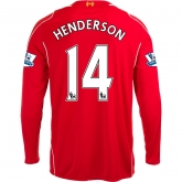 14-15 Liverpool HENDERSON #14 Home Red Long Sleeve Soccer Jersey Shirt