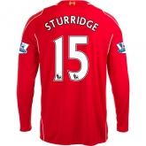 14-15 Liverpool STURRIDGE #15 Home Red Long Sleeve Soccer Jersey Shirt