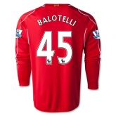 14-15 Liverpool BALOTELLI #45 Home Red Long Sleeve Soccer Jersey Shirt