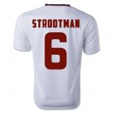 14-15 Roma Strootman #6 Away White Soccer Jersey Shirt