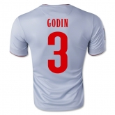 14-15 Atletico Madrid Godin #3 Away Gray Jersey Shirt