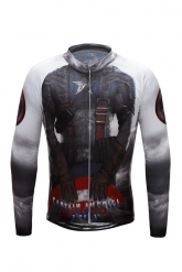 Captain America Black Cycling Long Sleeve Jersey Top