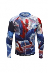 Spiderman Blue Cartoon Cycling Long Sleeve Jersey Top