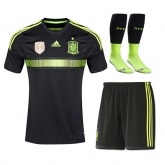 2014 World Cup Spain Away Black Jersey Whole Kit(Shirt+Short+Socks)