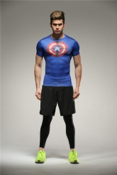 Colourful Captain America Blue Soccer Short Sleeve Skintight Under Shirt Model No.11