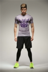 Colourful Decepticons Gray Soccer Short Sleeve Under Shirt Model No.9
