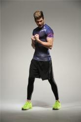 Colourful Batman Purple Soccer Short Sleeve Skintight Under Shirt Model No.7