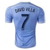 14-15 New York City Home DAVID VILLA #7 Blue Soccer Jersey Shirt