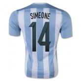 2015 Argentina Home Simeone #14 Soccer Jersey Shirt