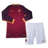 15-16 Roma Home Red Long Sleeve Soccer Jersey Kit(Shirt+Short)