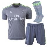 15-16 Real Madrid Away Gray Soccer Jersey Whole Kit(Shirt+Short+Socks)