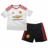 15-16 Manchester United Away White Children's Jersey Kit(Shirt+Short)