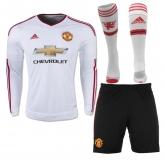 15-16 Manchester United Away White Long Sleeve Jersey Whole Kit(Shirt+Short+Sock)