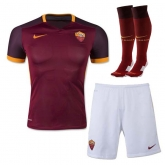 15-16 Roma Home Red Soccer Jersey Whole Kit(Shirt+Short+Sock)