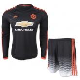 15-16 Manchester United Away Black Long Sleeve Jersey Kit(Shirt+Short)