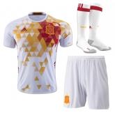 2016 Spain Away White Soccer Jersey Whole Kit(Shirt+Short+Socks)