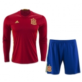 2016 Spain Home Long Sleeve Jersey Kit(Shirt+Short)