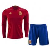 2016 Spain Home Long Sleeve Jersey Kit(Shirt+Short)