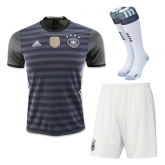 2016 Germany Away Black&Grey Jersey Whole Kit(Shirt+Short+Socks)