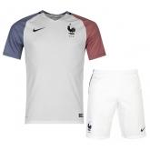 2016 France Away White Soccer Jersey Kit(Shirt+Short)