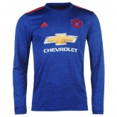 16-17 Manchester United Away Blue Long Sleeve Jersey Shirt