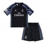16-17 Real Madrid Away Black Children's Jersey Kit(Shirt+Short)