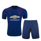 16-17 Manchester United Away Blue Jersey Kit(Shirt+Short)