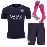 16-17 Barcelona Away Deep Purple Jersey Whole Kit(Shirt+Short+Sock)