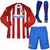 16-17 Atletico Madrid Home LFP Version Long Sleeve Jersey Whole Kit(Shirt+Short+Socks)