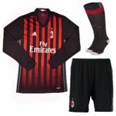 16-17 AC Milan Home Long Sleeve Jersey Whole Kit(Shirt+Short+Socks)