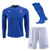 2016 Italy Home Blue Long Sleeve Jersey Whole Kit(Shirt+Short+Socks)