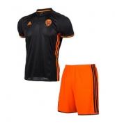 16-17 Valencia Away Black Children's Jersey Kit(Shirt+Short)