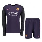 16-17 Barcelona Away Purple Long Sleeve Children's Jersey Kit(Shirt+Short)