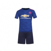 16-17 Manchester United Away Blue Jersey Kit(Without Logo)