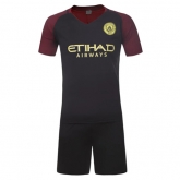 16-17 Manchester City Away Black Jersey Kit(Without Logo)