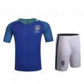 2016 Brazil Away Blue Jersey Kit(Without Logo)