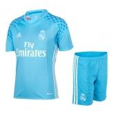 16-17 Real Madrid Goalkeeper Blue Jersey Kit(Shirt+Short)