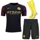 16-17 Manchester City Away Black Soccer Jersey Whole Kit(Shirt+Short+Socks)