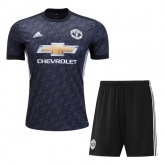 17-18 Manchester United Away Black Jersey Kit(Shirt+Short)