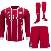 17-18 Bayern Munich Home Long Sleeve Jersey Whole Kit(Shirt+Short+Socks)