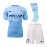 17-18 Manchester City Home Jersey Whole Kit(Shirt+Short+Socks)
