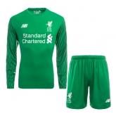 17-18 Liverpool Goalkeeper Green Long Sleeve Jersey Kit(Shirt+Short)