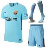 17-18 Barcelona Away Blue Soccer Jersey Whole Kit(Shirt+Short+Socks)