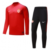 17-18 AS Monaco FC Red &Black Training Kit(Zipper Shirt+Trouser)