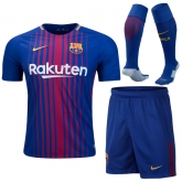 17-18 Barcelona Home Soccer Jersey Whole Kit(Shirt+Short+Socks)