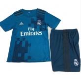 17-18 Real Madrid Third Away Blue Children's Jersey Kit(Shirt+Short)